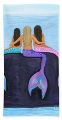 Bath Towel featuring the painting The Three Beauties by Leslie Allen