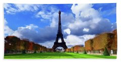 Hand Towel featuring the painting The Tower Paris by David Dehner