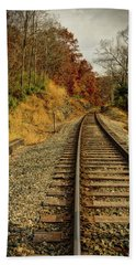 Bath Towel featuring the photograph The Tracks In The Fall by Mark Dodd