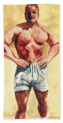 Bath Towel featuring the painting The Trainer by Vicki  Housel