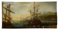 Bath Towel featuring the painting The Trojan Women Setting Fire To The Fleet by Claude Lorrain