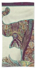 The Trumpet - Elephant Kashmir Patterned Boho Tribal Bath Towel by Audrey Jeanne Roberts