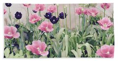 The Tulip Garden Bath Towel by Jeannie Rhode