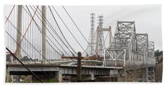 The Two Carquinez Bridges At Crockett And Vallejo California . Aka Alfred Zampa Memorial Bridge . 7d8919 Hand Towel