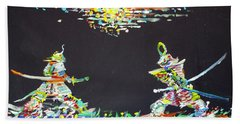 Bath Towel featuring the painting The Two Samurais by Fabrizio Cassetta