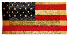 The United States Declaration Of Independence - American Flag - Square Hand Towel