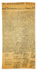 The United States Declaration Of Independence Bath Towel