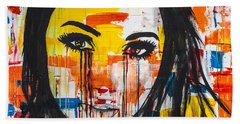 Bath Towel featuring the painting The Unseen Emotions Of Her Innocence by Bruce Stanfield