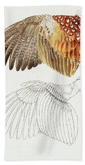 The Upper Side Of The Pheasant Wing Bath Towel