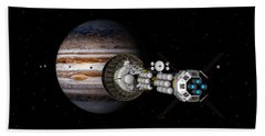 Hand Towel featuring the digital art The Uss Savannah Nearing Jupiter by David Robinson