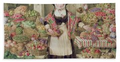 The Vegetable Stall  Hand Towel by Thomas Frank Heaphy
