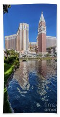 The Venetian In Front Of The Mirage Lagoon Day Portrait Bath Towel