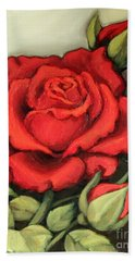 The Very Red Rose Bath Towel by Inese Poga