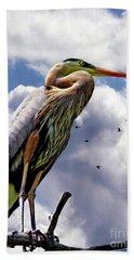 The Vigilant Sentinel Heron II Hand Towel