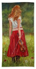 The Violinist Hand Towel by David Stribbling