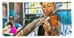 Hand Towel featuring the painting The Violinist by Wayne Pascall