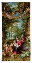 The Virgin And Child With The Infant Saint John The Baptist, Saint Anne And Angels, Surrounded By A  Hand Towel