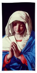 The Virgin In Prayer Bath Towel