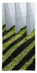 The Washing Is On The Line - Shadow Play Bath Towel by Matthias Hauser