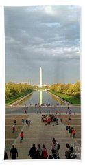The Washington Monument And The Reflecting Pool Hand Towel