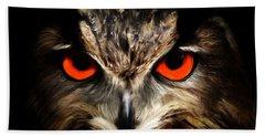 The Watcher - Owl Digital Painting Hand Towel