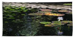 Hand Towel featuring the photograph The Water Lily by Cendrine Marrouat