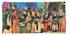 Hand Towel featuring the painting The Way We Were - Christmas Caroling by Wayne Pascall