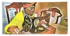 Bath Towel featuring the painting The Way We Were - Grandma's Sewing Machine by Wayne Pascall