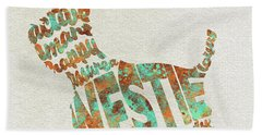 Bath Towel featuring the painting The West Highland White Terrier Watercolor Painting / Typographic Art by Inspirowl Design
