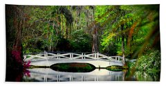 The White Bridge In Magnolia Gardens Sc Hand Towel