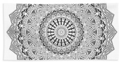 Bath Towel featuring the digital art The White Mandala No. 3 by Joy McKenzie