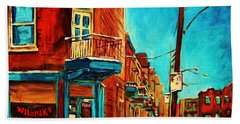 Hand Towel featuring the painting The Wilensky Doorway by Carole Spandau