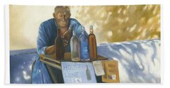 Bath Towel featuring the painting The Wineseller by Marlene Book