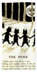 The Wink Six Black Pussy Cats Hand Towel