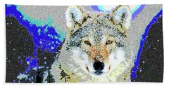 Hand Towel featuring the mixed media The Wolf by Charles Shoup