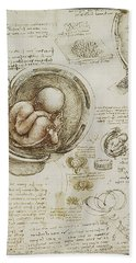 Hand Towel featuring the painting The Womb And Embreyo  by James Christopher Hill