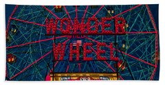The Wonder Wheel At Luna Park Bath Towel
