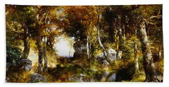 The Woodland Pool Hand Towel by Thomas Moran