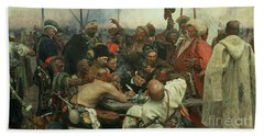 The Zaporozhye Cossacks Writing A Letter To The Turkish Sultan Bath Towel