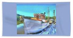 Thee Old Dragger Boat Bath Towel by Thom Zehrfeld