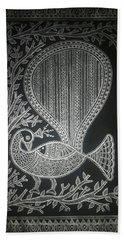 The Madhubani Peacock Hand Towel