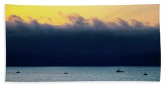 Thick Fog Blankets Sunset Bath Towel by Joseph Hollingsworth
