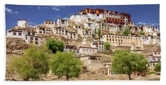 Bath Towel featuring the photograph Thikse Monastery by Alexey Stiop