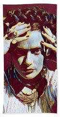 Thinking Frida Bath Towel by Gary Grayson