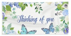 Thinking Of You Greeting Card Hand Towel