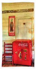 Thirst-quencher Old Coke Machine Hand Towel by Reid Callaway