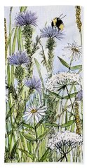 Bath Towel featuring the painting  Thistles Daisies And Wildflowers by Laurie Rohner