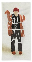 Hand Towel featuring the digital art Thom Yorke Typography Art by Inspirowl Design