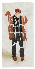 Bath Towel featuring the digital art Thom Yorke Typography Art by Inspirowl Design