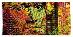 Bath Towel featuring the digital art Thomas Jefferson - $2 Bill by Jean luc Comperat